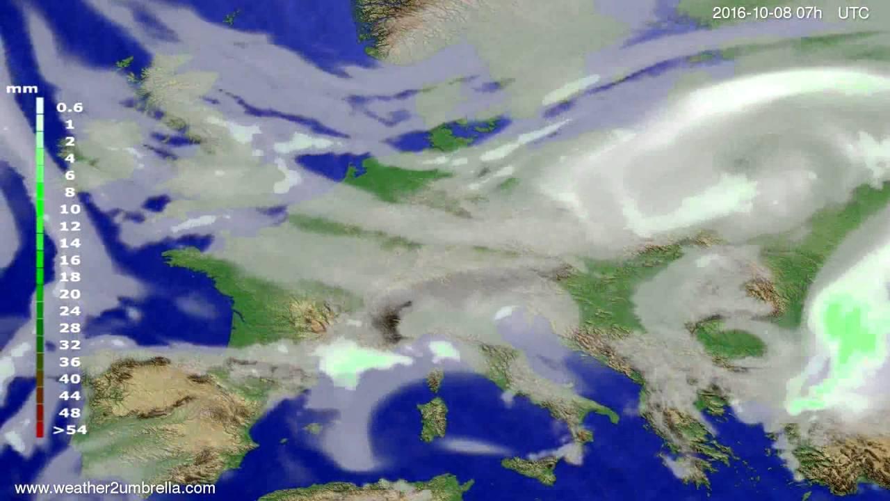 Precipitation forecast Europe 2016-10-04