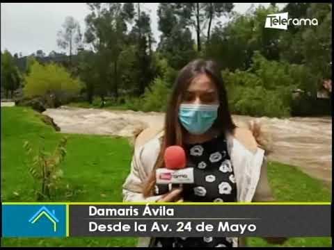 Se registra desbordamiento del río Yanuncay tras constante lluvia
