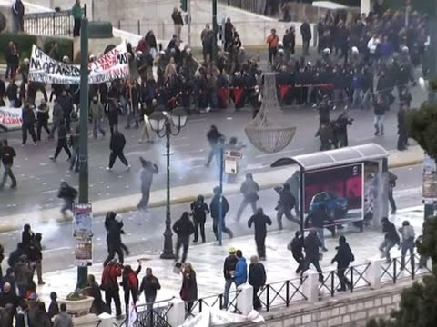 WATCH: Violent protests erupt over Greek pension reform