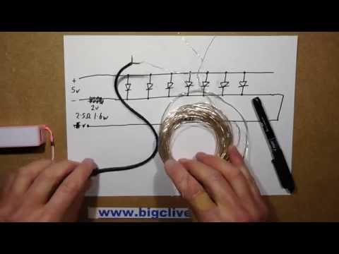 USB powered string of LEDs with clever current sharing trick.
