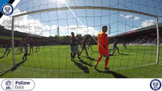 A behind-the-net view of Rochdale AFC's Steven Davies header v Scunthorpe United at the Crown Oil Arena.