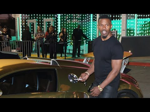 Jamie Foxx Drives $2M Gold Bugatti, Is Asked About Katie Holmes At Future Concert