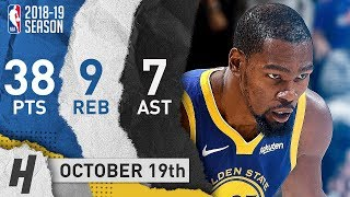 Kevin Durant NASTY Highlights Warriors vs Jazz 2018.10.19 - 38 Pts, 9 Reb, 7 Ast