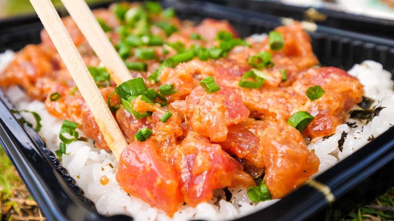 Food in Hawaii – POKE BOWLS and Seafood at Tanioka's in Waipahu, Hawaii!