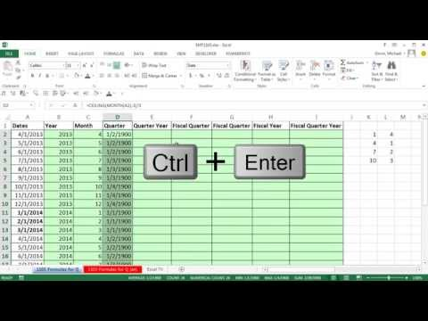 Excel Magic Trick 1103: Formulas for Quarters, Fiscal Quarters & Fiscal Years