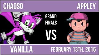 Grand Finals of recent SSF2 tournament Vanilla. Chaos0 (Tails) vs. Appley (Ness)
