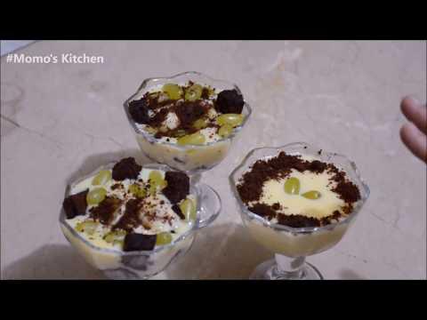 Brownie Fruits Custard - Momo's Kitchen