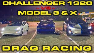 DEDICATED DRAG CAR vs Tesla Model 3 & Model X Performance 1/4 Mile by DragTimes