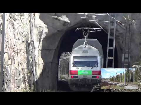 Finnish InterCity train 960 and Pendolino 955 going trough railway tunnel