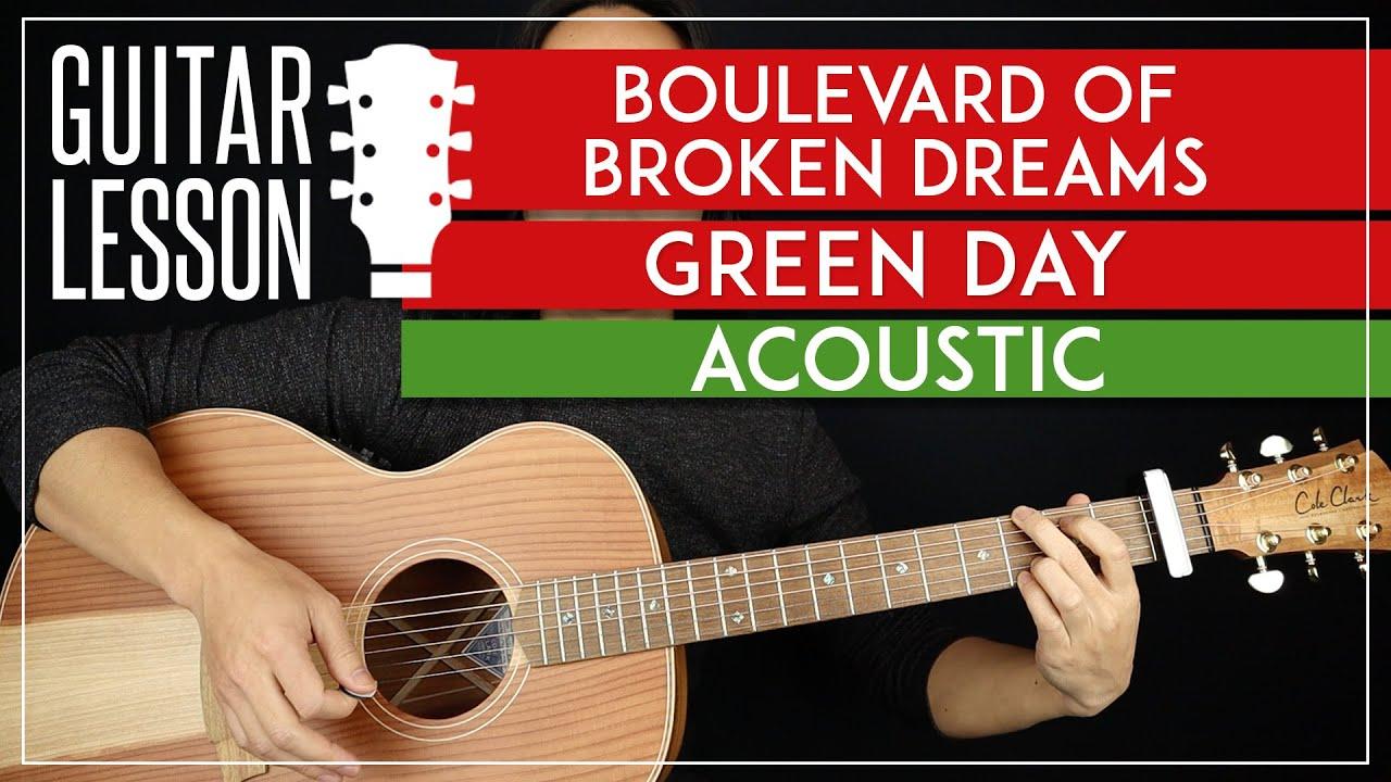Boulevard Of Broken Dreams Acoustic Guitar Tutorial 🎸 Green Day Guitar Lesson |Chords + Solo|