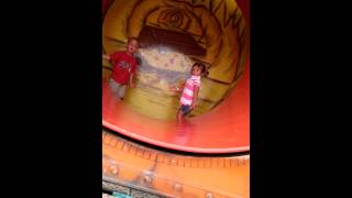 Three Year Old Girl Pulls 360 By Holding Onto Spinning Fun House Tube