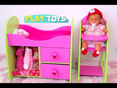 Baby Doll Nursery toy set - Stroller toy pram for dolls, High Chair, Bed doll furniture