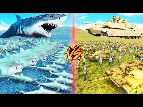 MEGALODONES GIGANTES VS TANQUES Y HUMANOS | BEAST BATTLE SIMULATOR