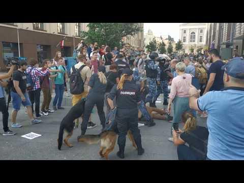 Полицаи бьют прохожих и натравливают собак