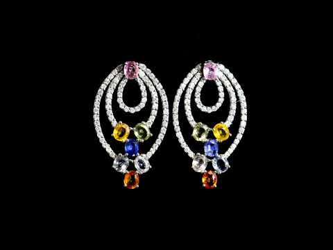 Lady's 18k White Gold Multi Color Sapphires and Diamond Earrings
