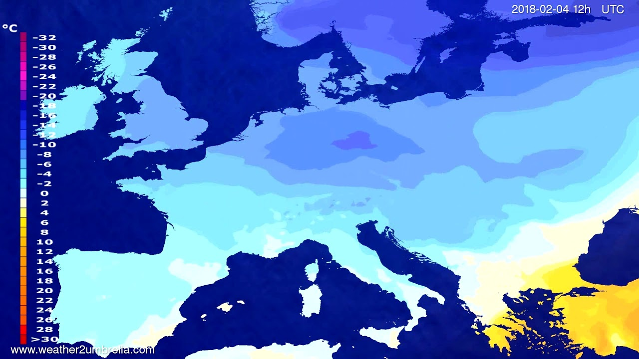 Temperature forecast Europe 2018-02-02