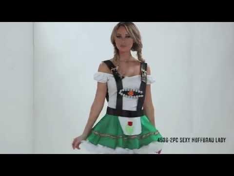 Sexy Bayerisches Madl Oktoberfest Dirndl Weiss - Schwarz - Grün I Roma Kostüm mit Video