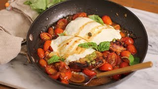 Skillet Caprese Chicken by Laura in the Kitchen