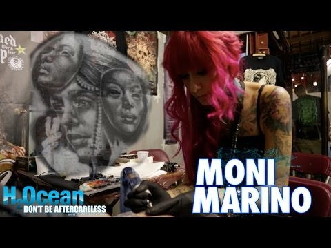 Moni Marino tattooing chest piece at London Tattoo Convention