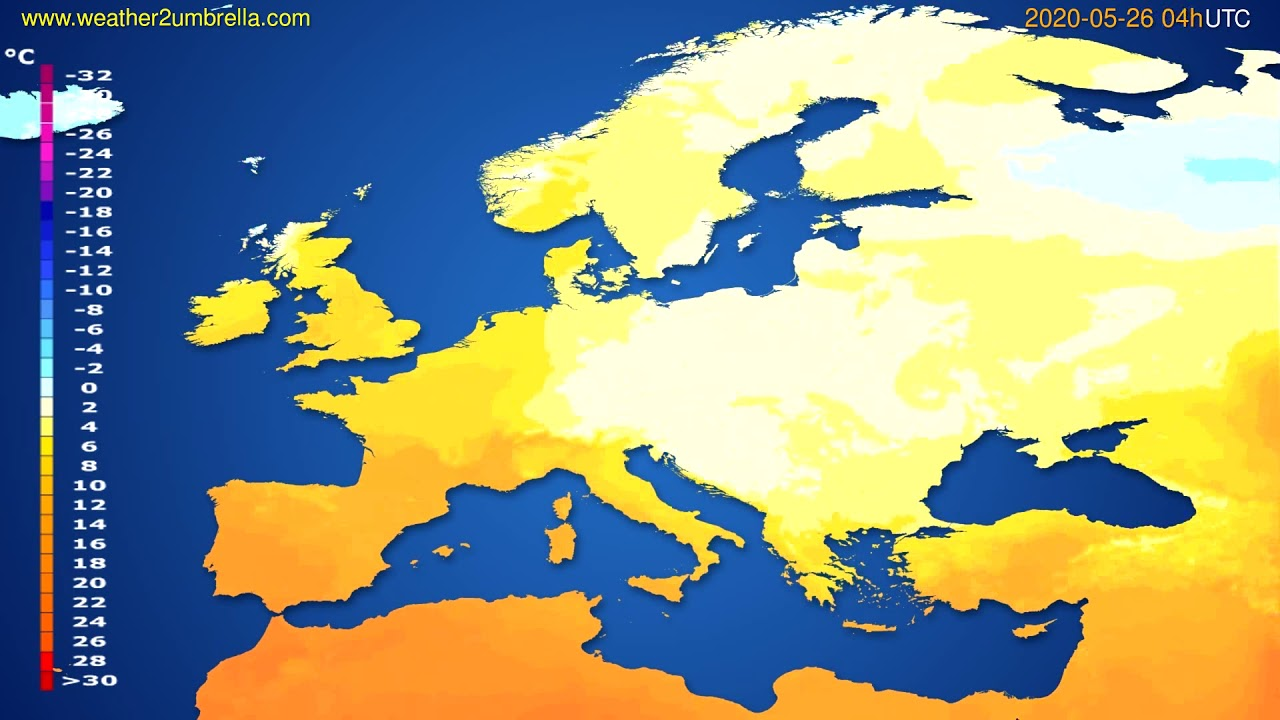 Temperature forecast Europe // modelrun: 12h UTC 2020-05-25
