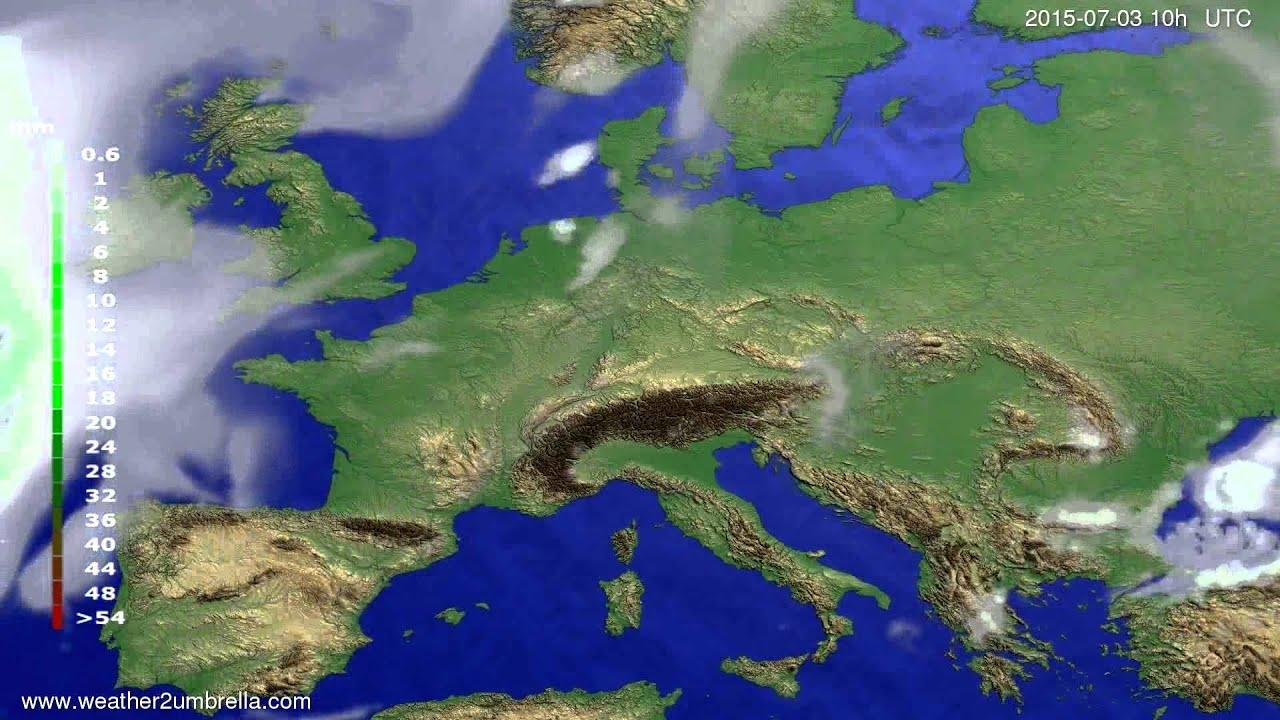 Precipitation forecast Europe 2015-06-29