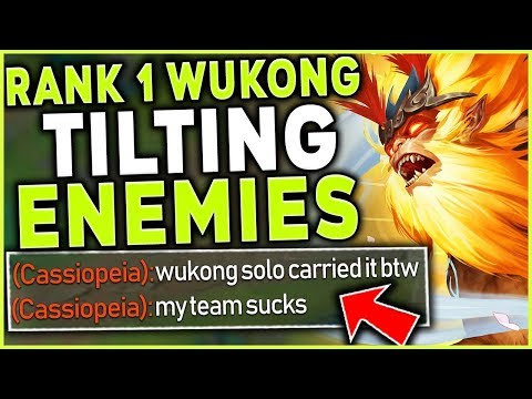 HOW TO TILT THE ENEMY TEAM WITH WUKONG MID! INSANE RANK 1 WUKONG 1V9! - League of Legends