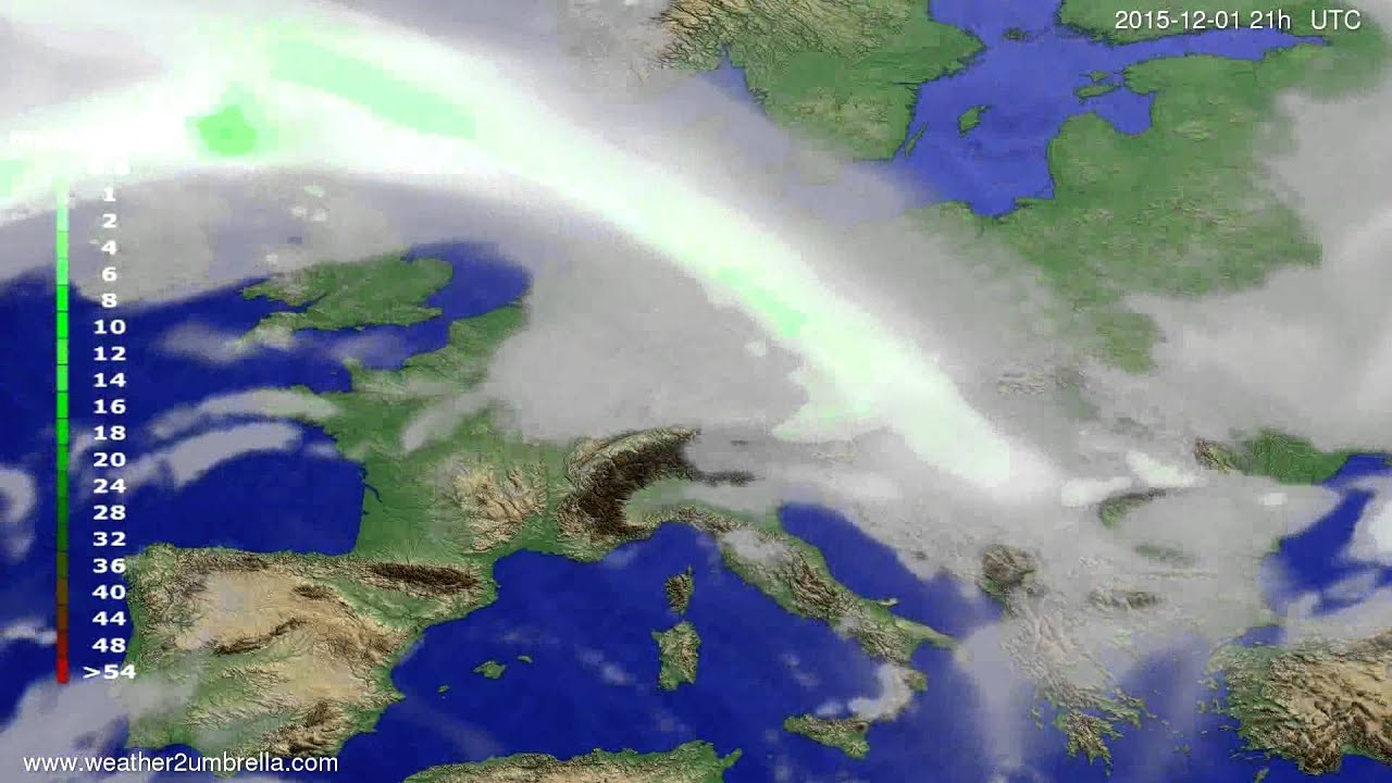 Precipitation forecast Europe 2015-11-28
