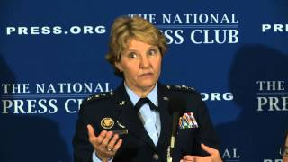 Lt. Gen. Michelle D. Johnson, the first female superintendent of the Air Force Academy, spoke at a National Press Club luncheon ...