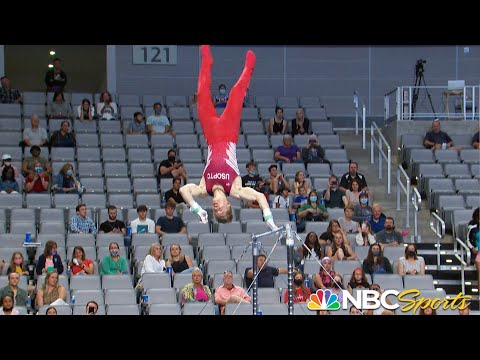 Shane Wiskus falls from high bar THREE TIMES yet refuses to quit in courageous routine | NBC Sports