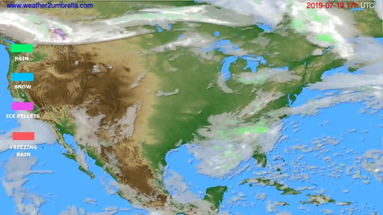 Precipitation forecast USA & Canada // modelrun: 00h UTC 2019-07-18