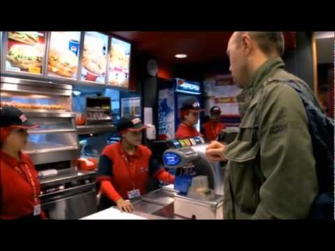 "Karl Pilkington goes to an Egyptian KFC; Appreciates the silence, because ""I don't come in here for a chat."""