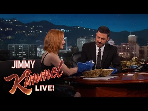 Jessica Chastain And Jimmy Kimmel Eat A Durian On