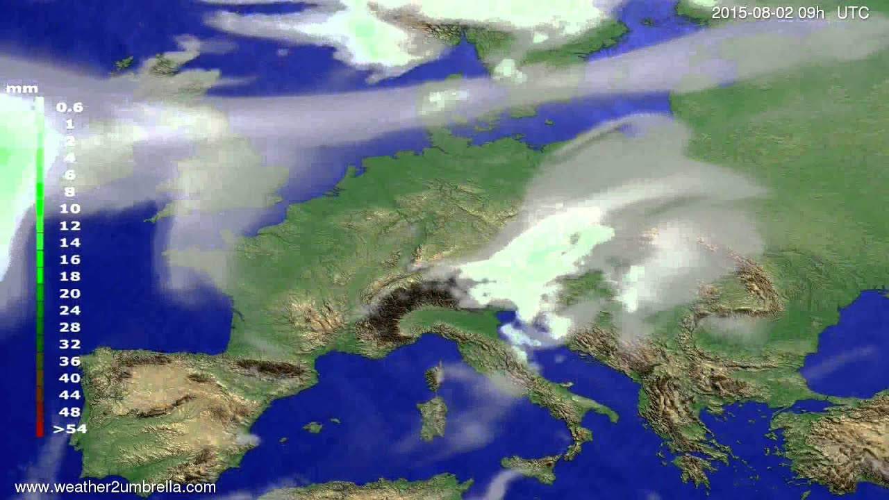 Precipitation forecast Europe 2015-07-29