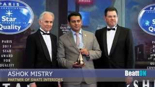 http://www.swatiinterior.com Ashok Mistry receiving the 'International Star for Leadership in Quality Award' presented by Business Initiative Directions (BID), ...