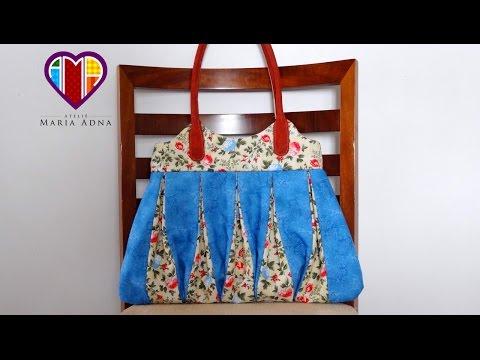Patchwork Maria Adna - Bolsa em patchwork Amy  - Bolsa em tecido - Aula de bolsa em patchwork