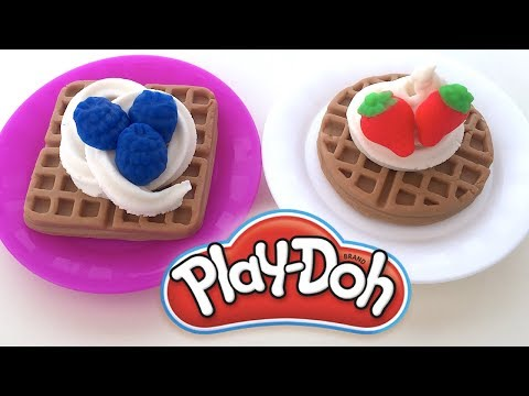 Play doh - DIY Play-Doh Learn Make Strawberry & Blueberry Waffle Whipped cream Toy Soda