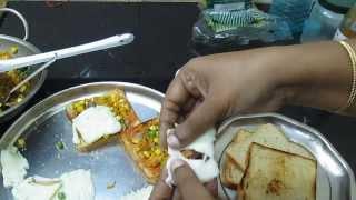 stuffed vegetable bread in Tamil ( English subtitle ) - bread recipe for breakfast