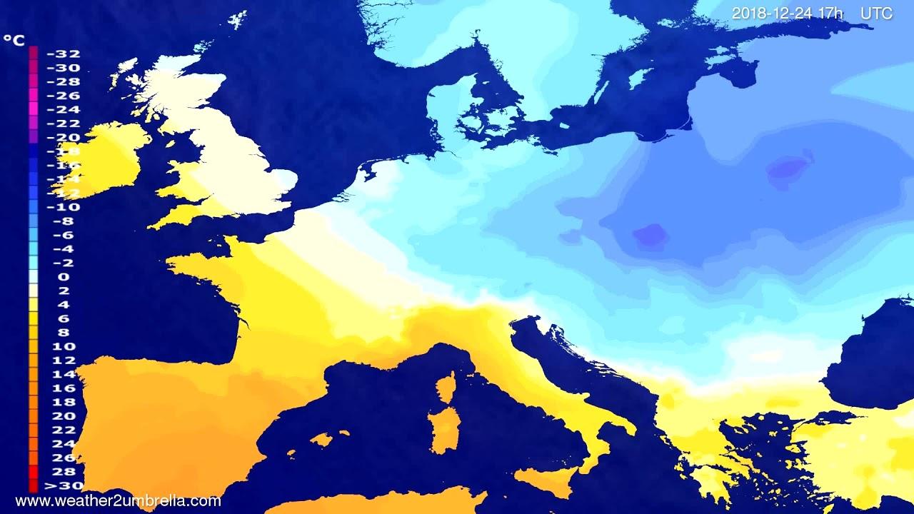Temperature forecast Europe 2018-12-22