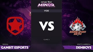 [RU] Gambit Esports vs Demolition Boys, Game 2, StarLadder ImbaTV Dota 2 Minor