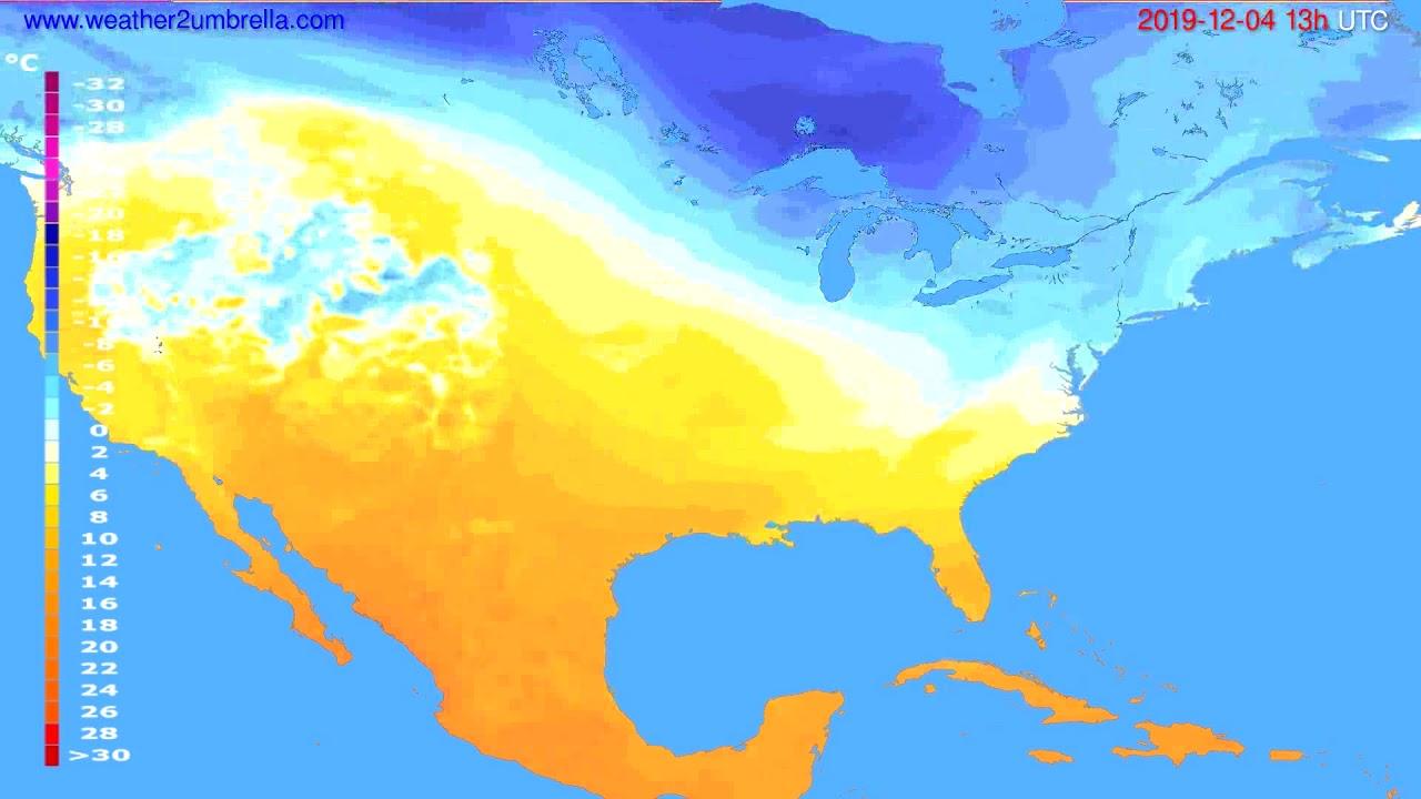 Temperature forecast USA & Canada // modelrun: 00h UTC 2019-12-03