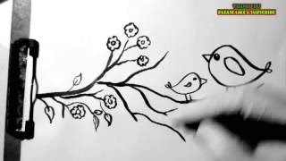 how to draw twitter birds sitting on the branch.. easiest drawing for kids