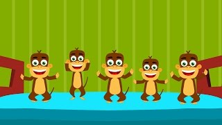 Five Little Monkeys In Hindi   Hindi Monkey Rhymes   Nursery Rhymes In Hindi   पांच नटखट बंदर