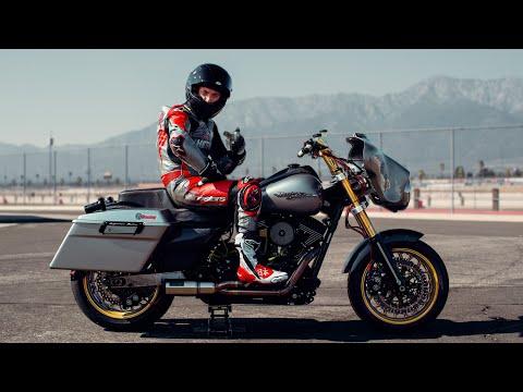 I'm RACING an 800lb HARLEY DAVIDSON Streetglide at Laguna Seca!