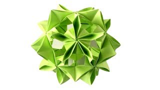 Кусудама цветок из бумаги. Оригами шар елочная игрушка на Новый год