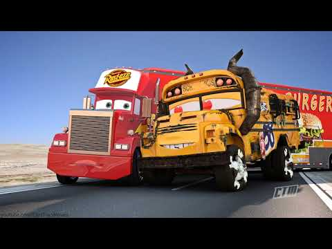 FAMOUS CARS Race Track Miss Fritter Racing vs Lightning McQueen, Storm & Ramirez (PART 1-6)