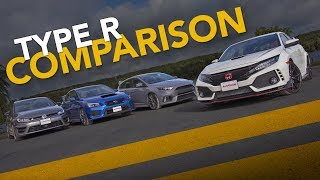 Video Honda Civic Type R vs. Ford Focus RS vs Subaru WRX STI vs. VW Golf R: Sport Compact Comparison MP3, 3GP, MP4, WEBM, AVI, FLV Februari 2018