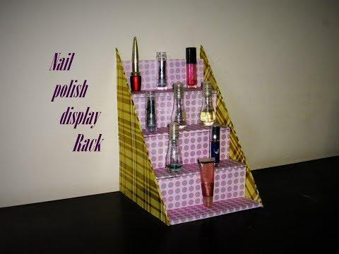 Make up - DIY Easy  Nail polish display Rack / Makeup Organizer  Made with cardboard & Colorful Paper