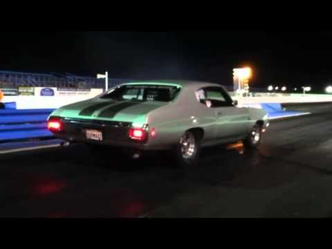 Duramax-powered Chevelle at the quarter mile