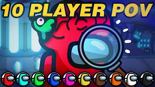 HUGE Brain Detective Plays in Among Us! (10 players, ALL perspectives!)