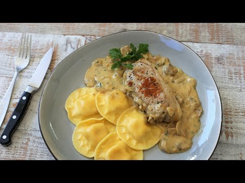 Pork Cutlets With Cream And Mushroom Sauce | French Bistro Recipes